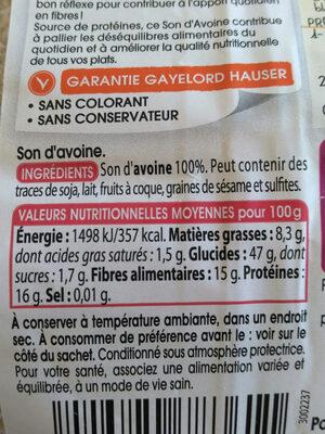 Son d'avoine - Informations nutritionnelles