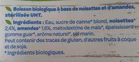 Boisson gourmande Amandes noisettes - Ingrédients