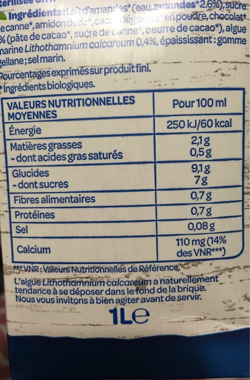 Lait d'amande chocolat - Informations nutritionnelles - fr