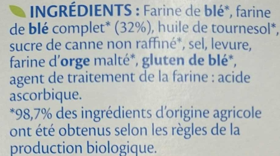 Pain grillé - Ingrediënten - fr