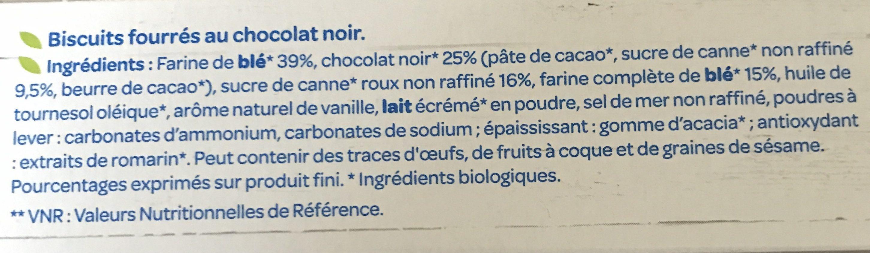 Fourres au chocolat noir bio - المكونات - fr