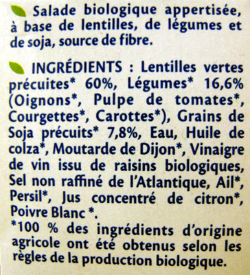 Salade Lentilles et légumes Bio - 180 g - Bjorg - Ingrediënten - fr