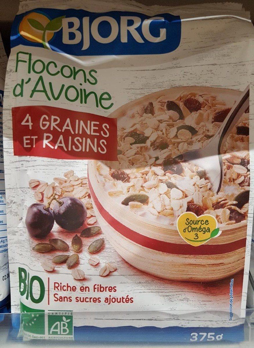 Flocons d'avoine 4 graines et raisins - Product