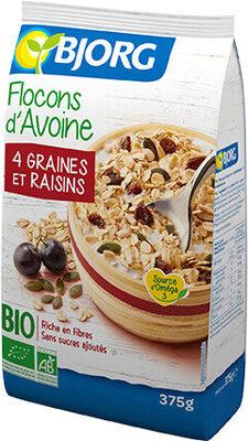 Flocons d'avoine 4 graines et raisins - Producto - fr