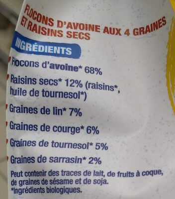 Flocons d'avoine 4 graines et raisins - Ingredienti - fr