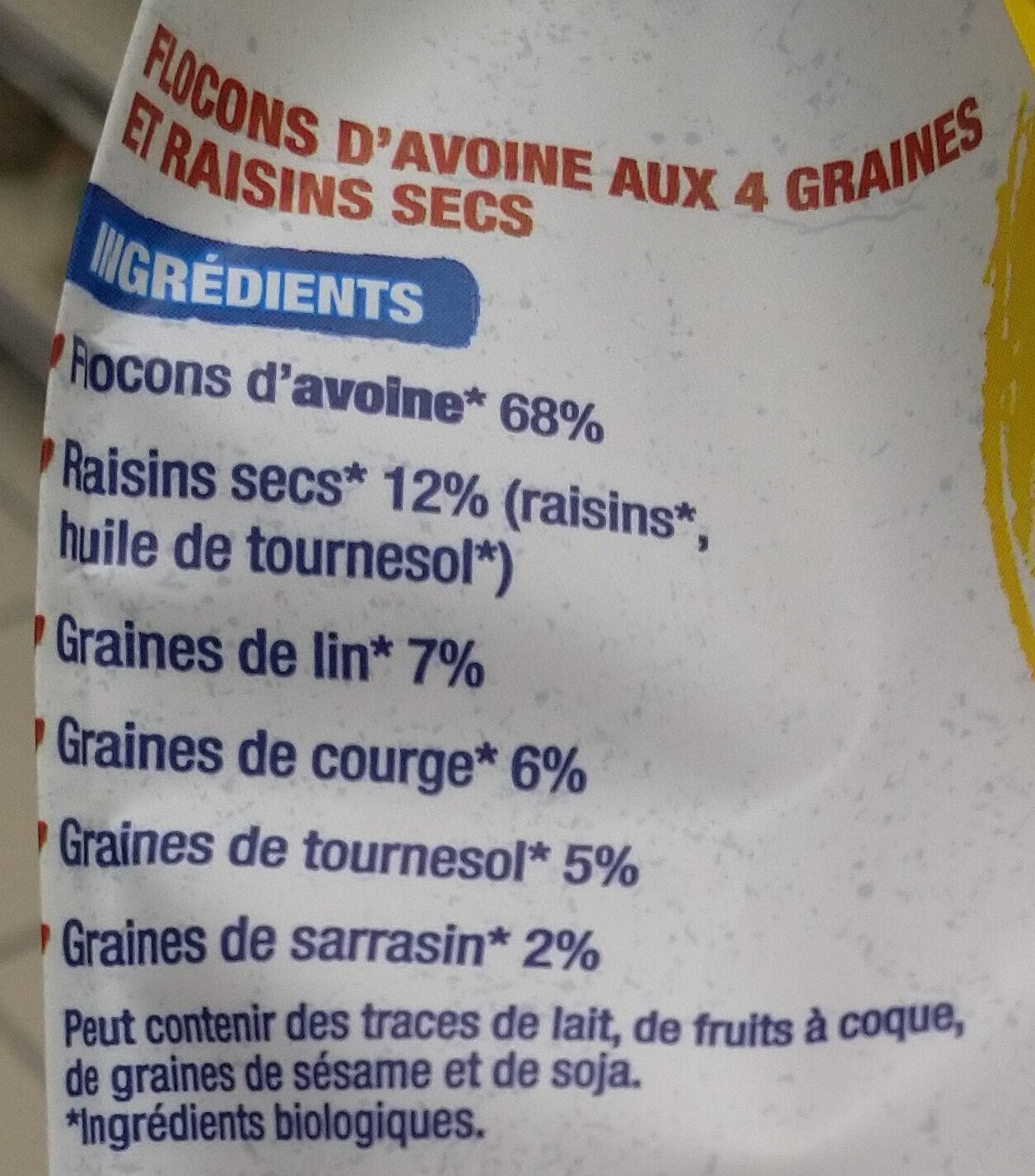 Flocons d'avoine 4 graines et raisins - Ingredientes - fr