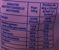 Flocons d'avoine - 4 graines et raisins - Nutrition facts