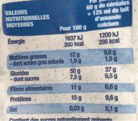 Flocons d'avoine 4 graines et raisins - Información nutricional - fr