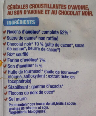 Crousti avoine chocolat - Ingredienti - fr