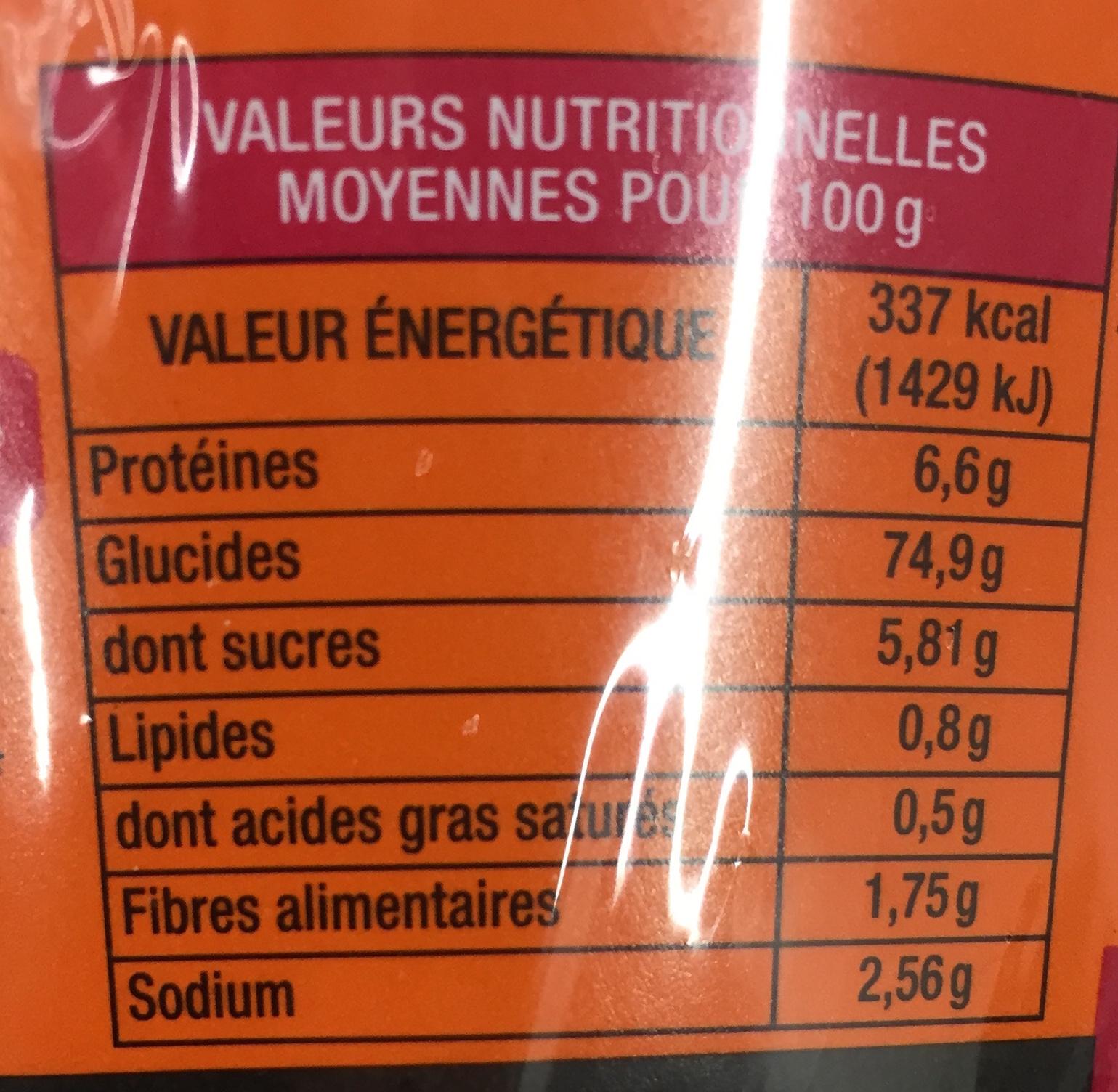Mifen Tiao saveur Boeuf - Informations nutritionnelles
