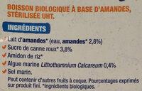 Lait d'amande calcium - Ingredienti - fr