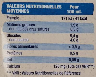 Lait d'amande calcium - Informazioni nutrizionali - fr