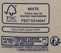 Lait d'amande calcium - Instruction de recyclage et/ou information d'emballage - fr