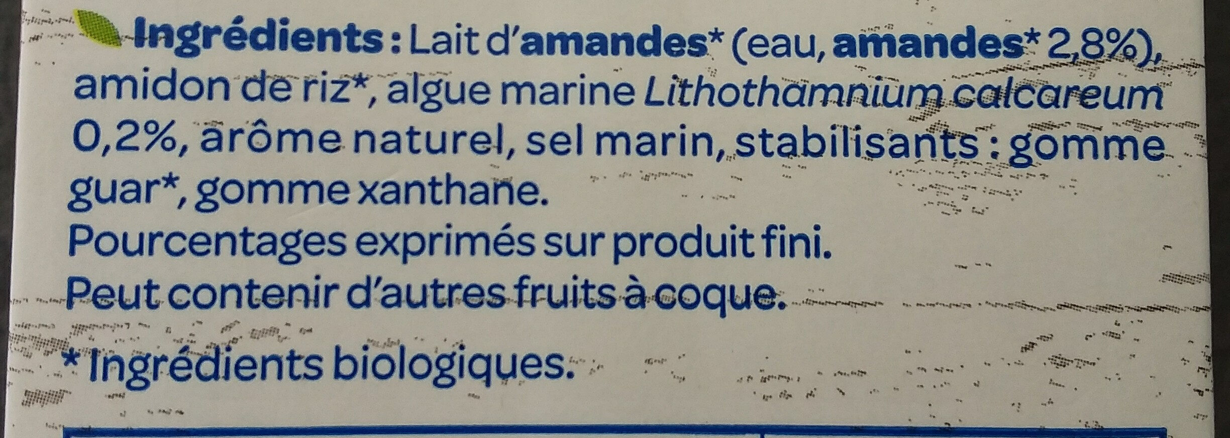 Lait d'amande - Ingredientes - fr