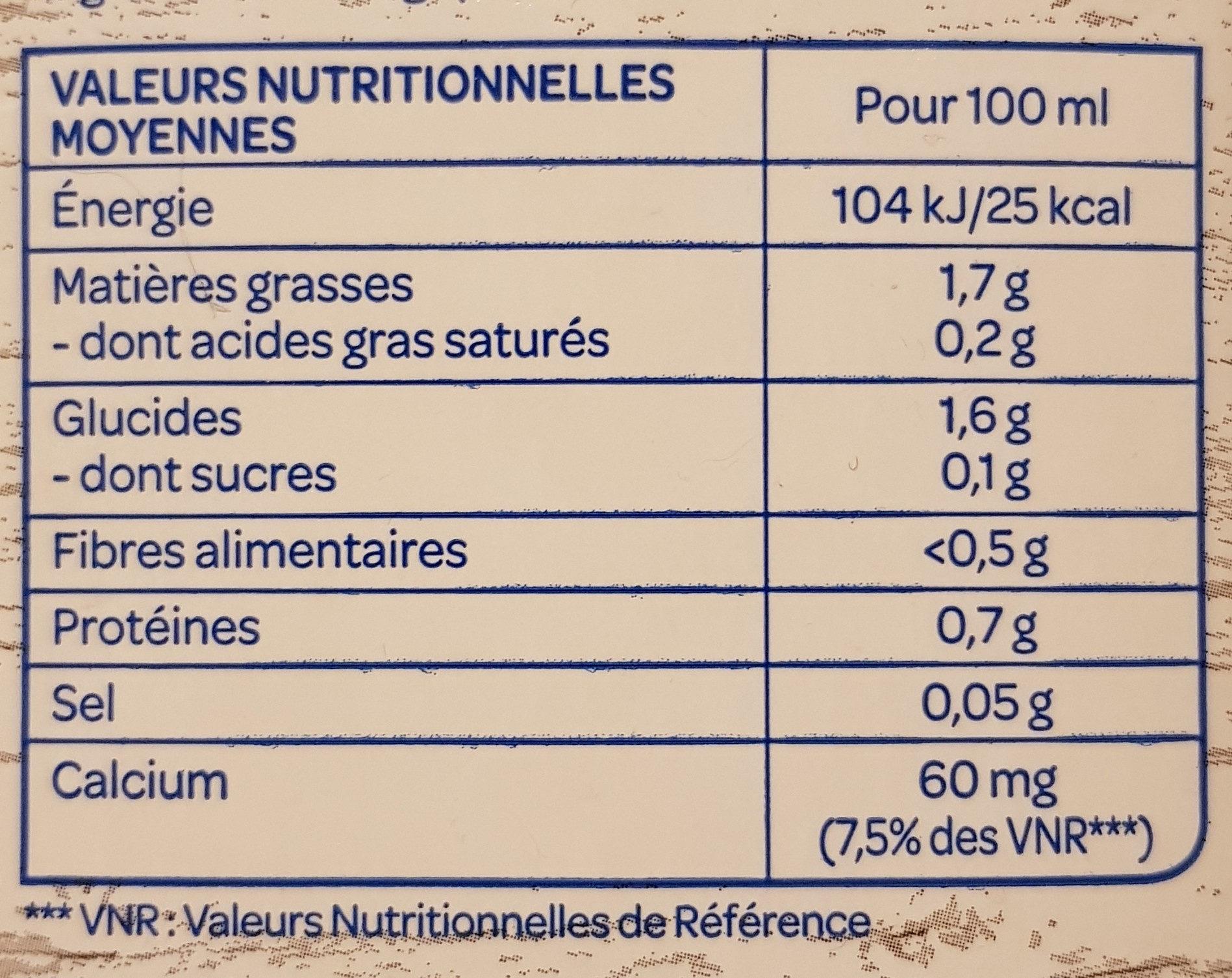 Lait d'amande sans sucres - Nutrition facts - fr