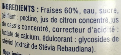 Confiture Fraises extrait de Stévia - Ingrédients