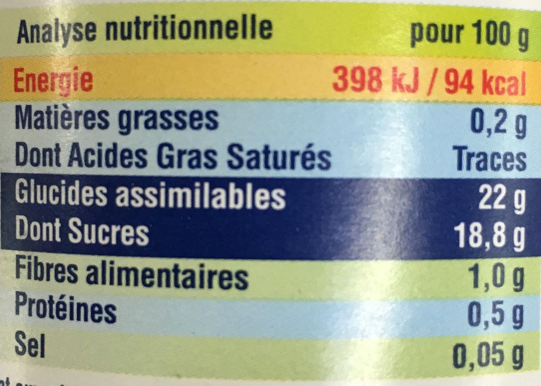 Confiture Fraises extrait de Stévia - Informations nutritionnelles