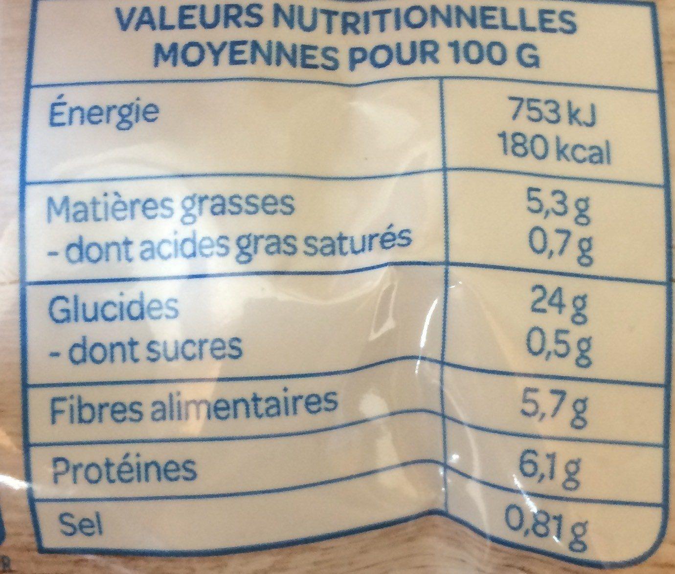 Boulgour, Quinoa et Sésame - Informations nutritionnelles