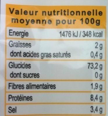 Nouilles udon à cuire - Nutrition facts - fr