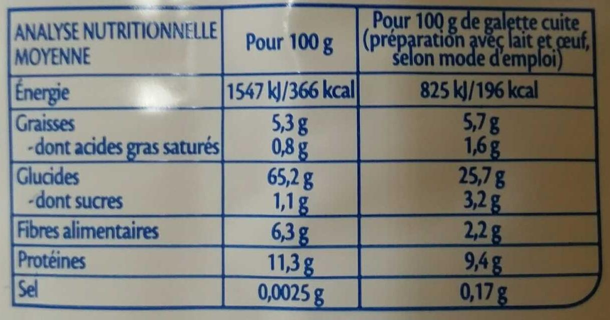 Mes Galettes Nature Bio - Valori nutrizionali - fr