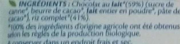 Galettes de Riz Chocolat au Lait - Ingrédients