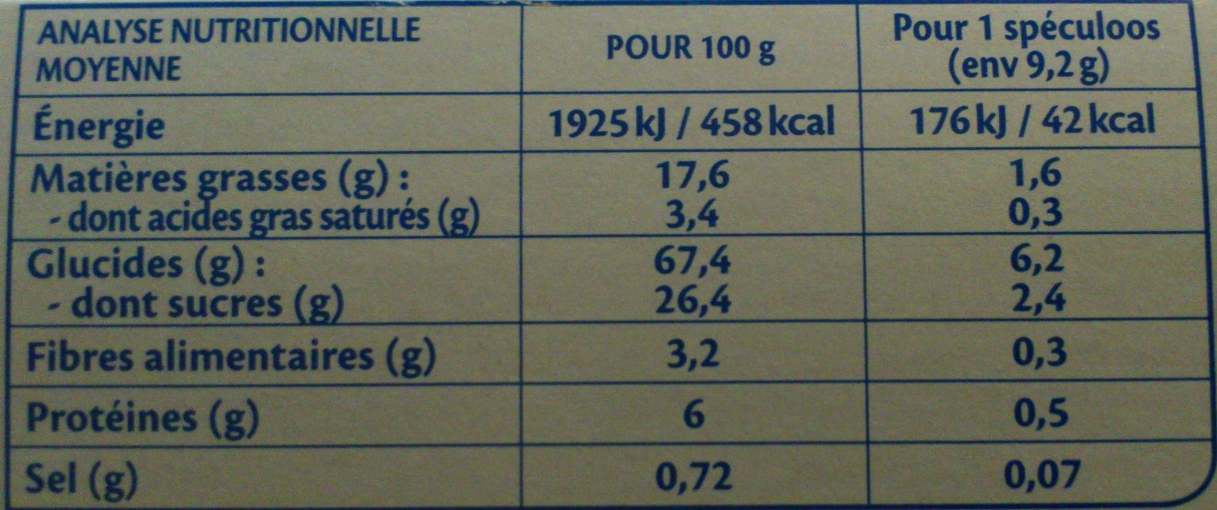 Spéculoos Bio - Voedingswaarden