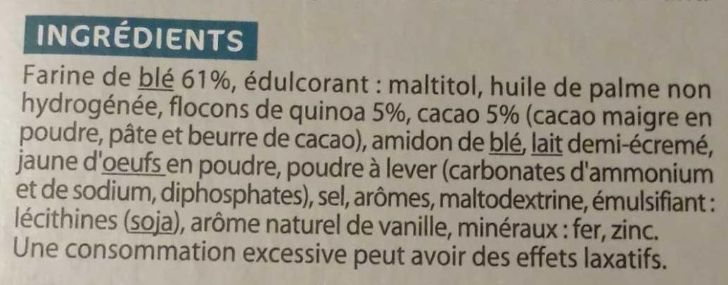 Biscuit Cacao Quinoa Sans Sucre - Ingrédients - fr