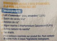 Lait d'amande vanille - Ingrédients - fr