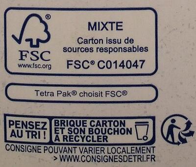 Lait d'amande vanille - Instruction de recyclage et/ou informations d'emballage - fr