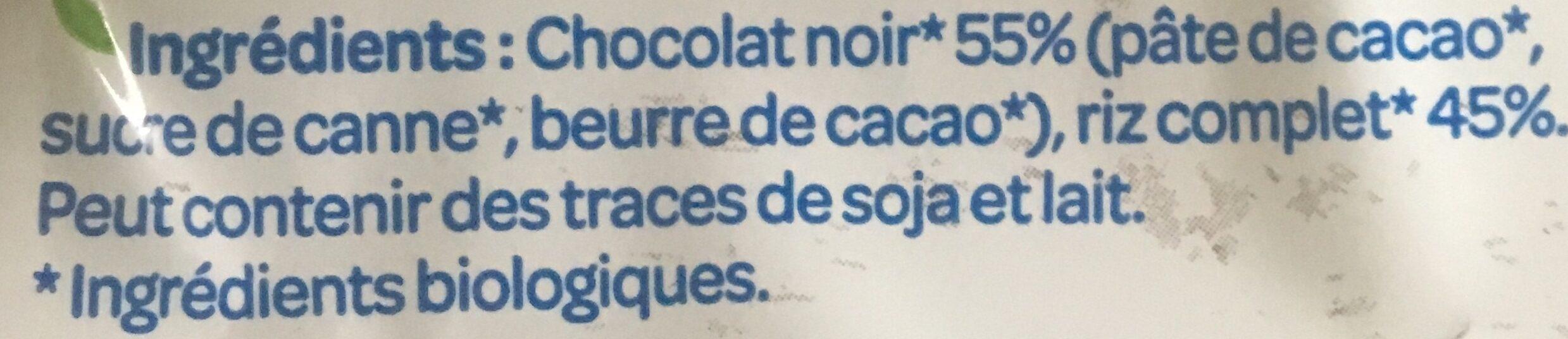 Galettes de riz chocolat noir - Ingredients - fr