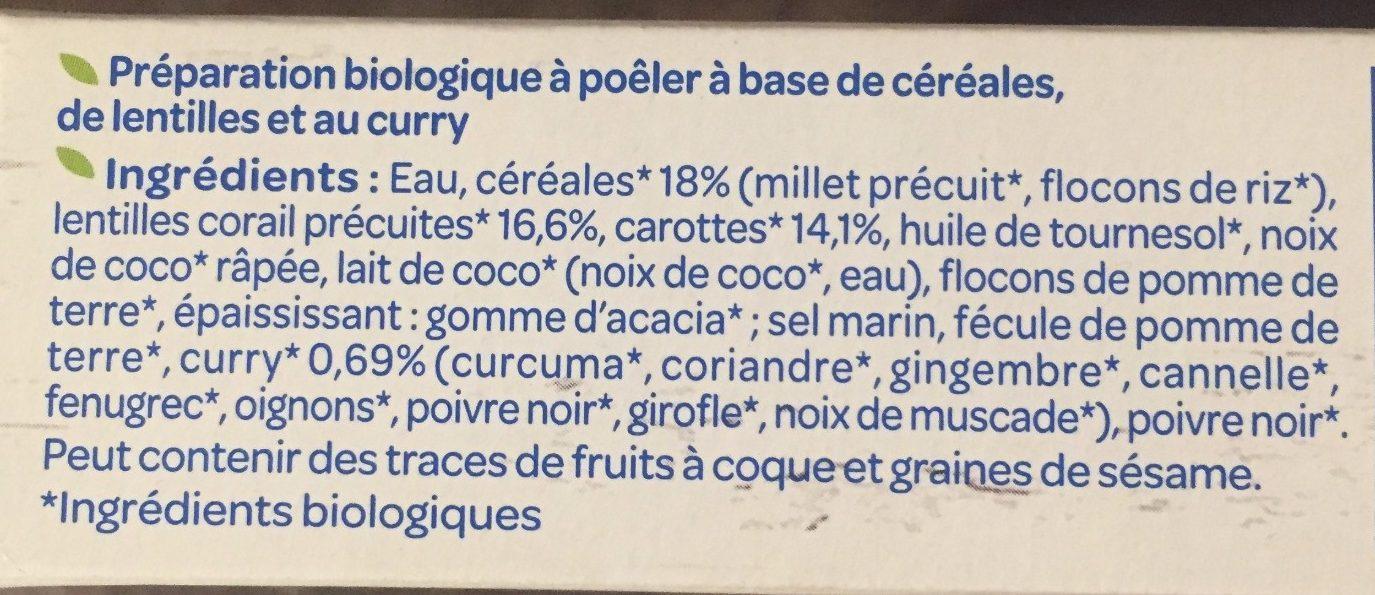 Galettes aux céréales - Lentilles et curry - Ingrediënten - fr