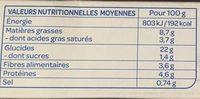 Galettes aux céréales - Lentilles et curry - Voedingswaarden - fr