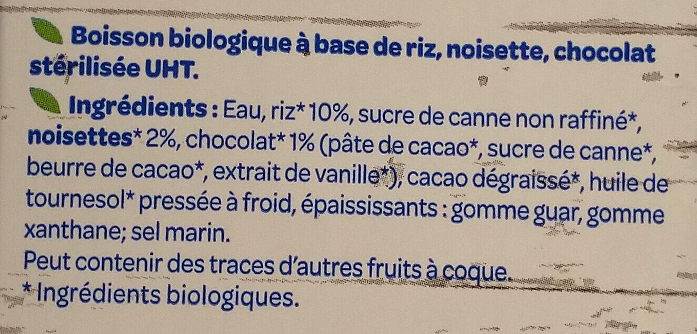 Boisson Gourmande Riz choco noisettes - Ingredienti - fr