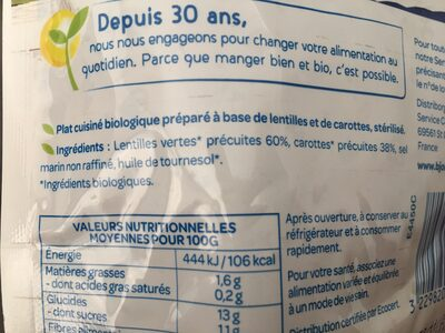 Lentille carotte doy pack bjorg - Ingredients