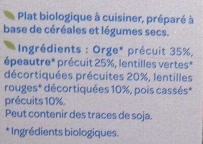 Céréales & Légumes secs - Orge, Épeautre, Pois cassés - Ingredienti - fr