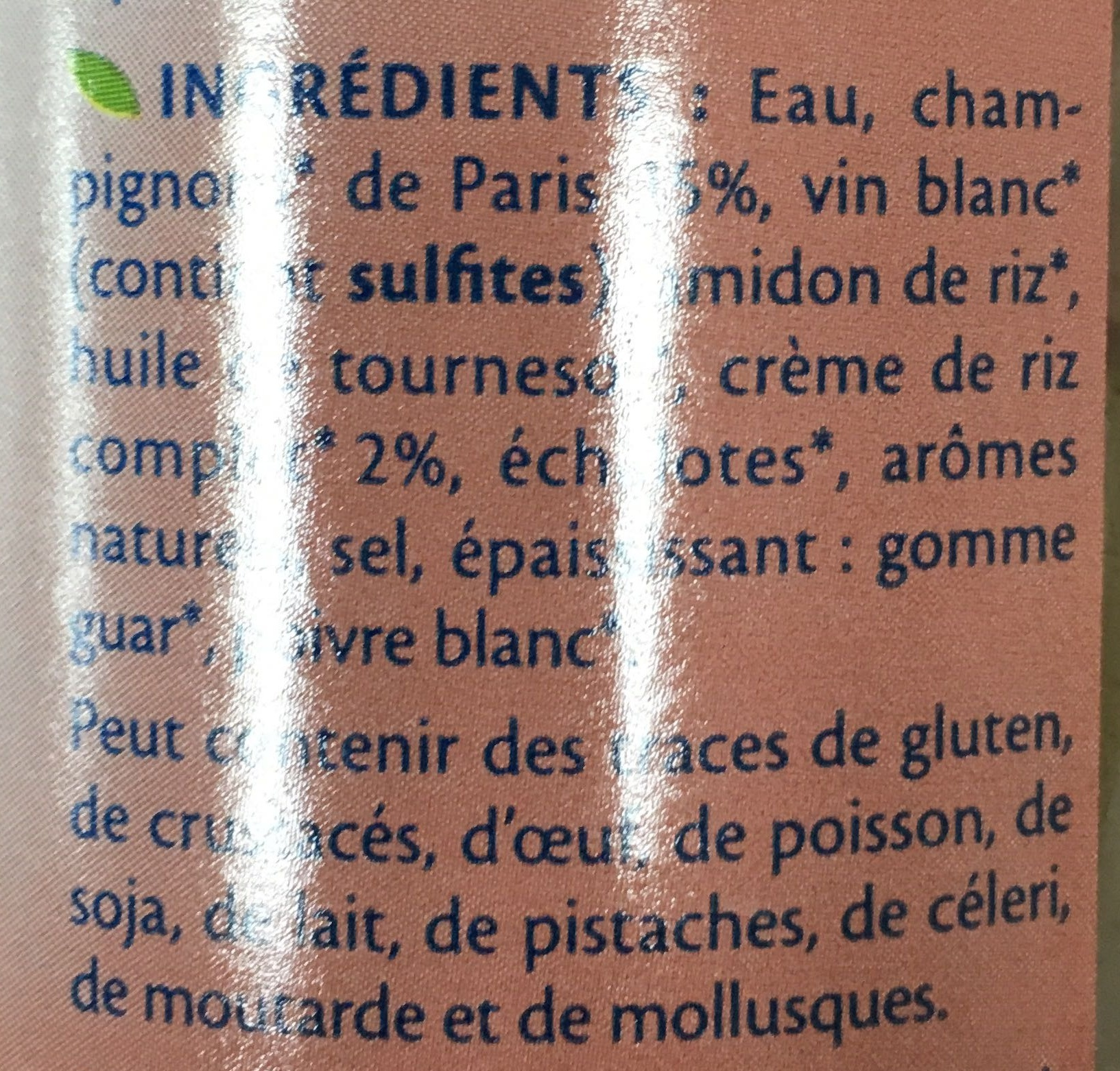 Sauce Champignons bio - Ingrediënten - fr