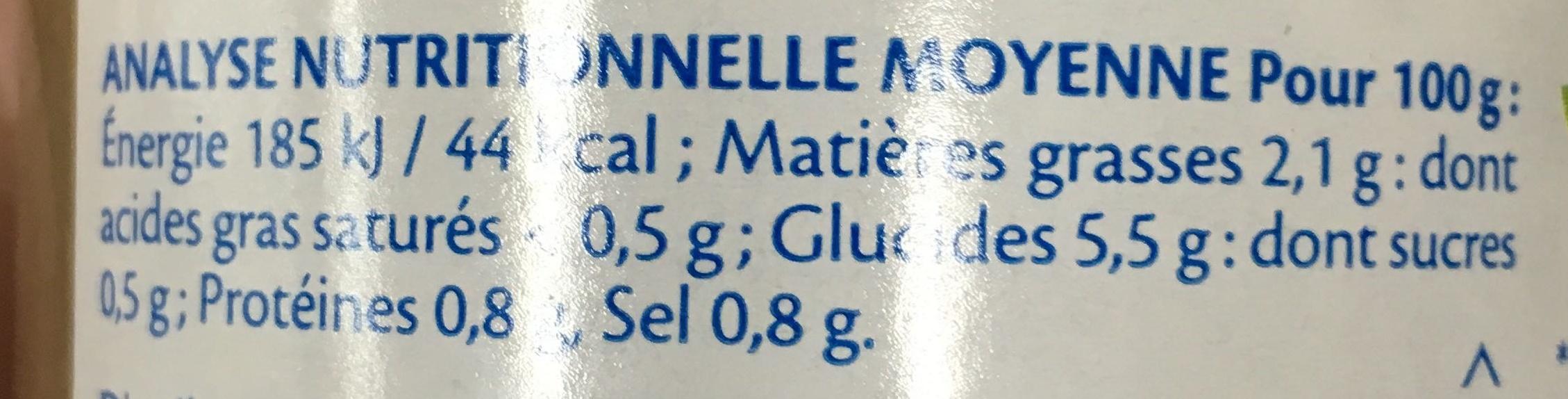 Sauce Champignons bio - Voedingswaarden - fr