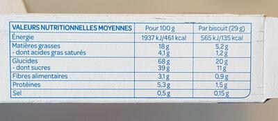 Fourrés framboise - حقائق غذائية