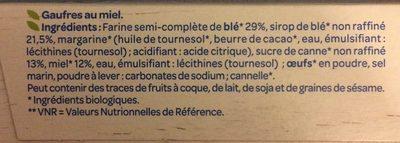 Gaufres au Miel Bio - Ingrédients