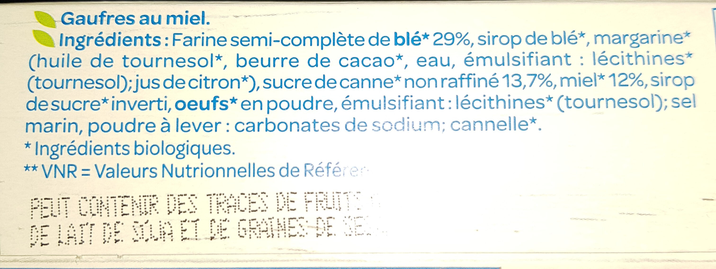 Gaufres au Miel Bio - Ingredients