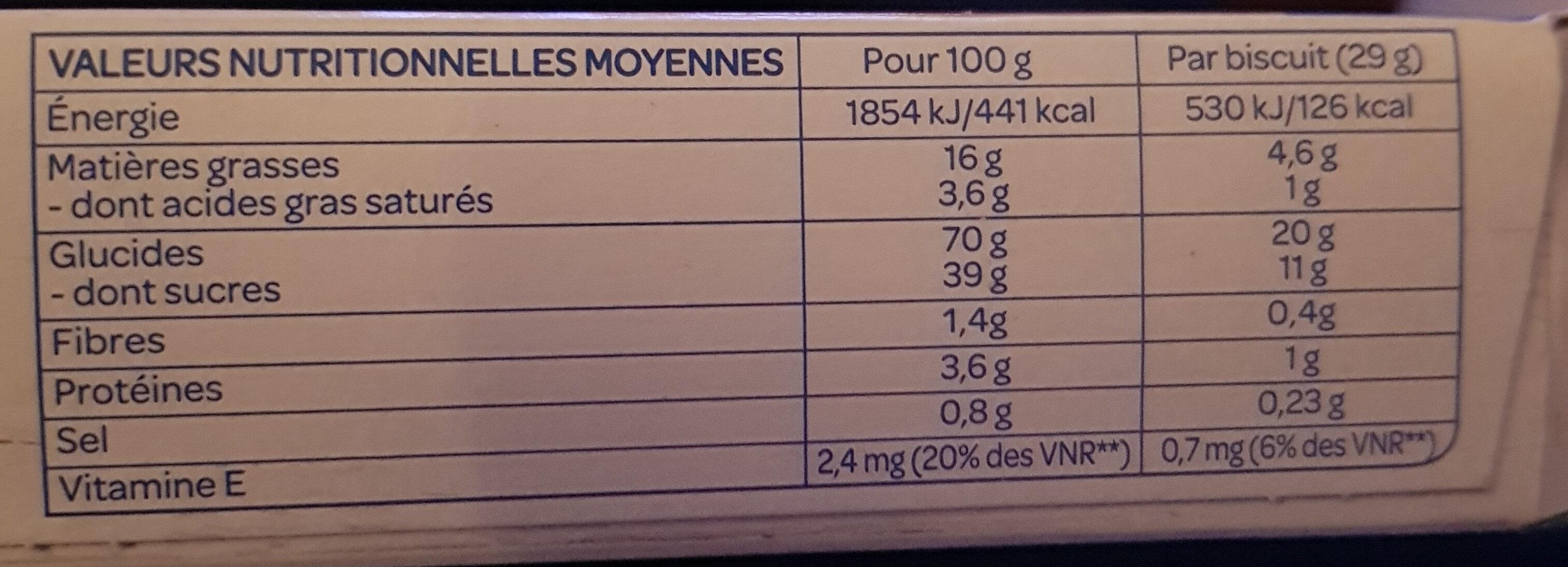 Gaufres au Miel Bio - Nutrition facts