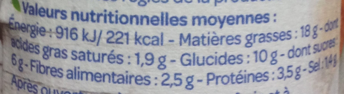 Tartine & Cuisine Trio de poivrons - Informations nutritionnelles