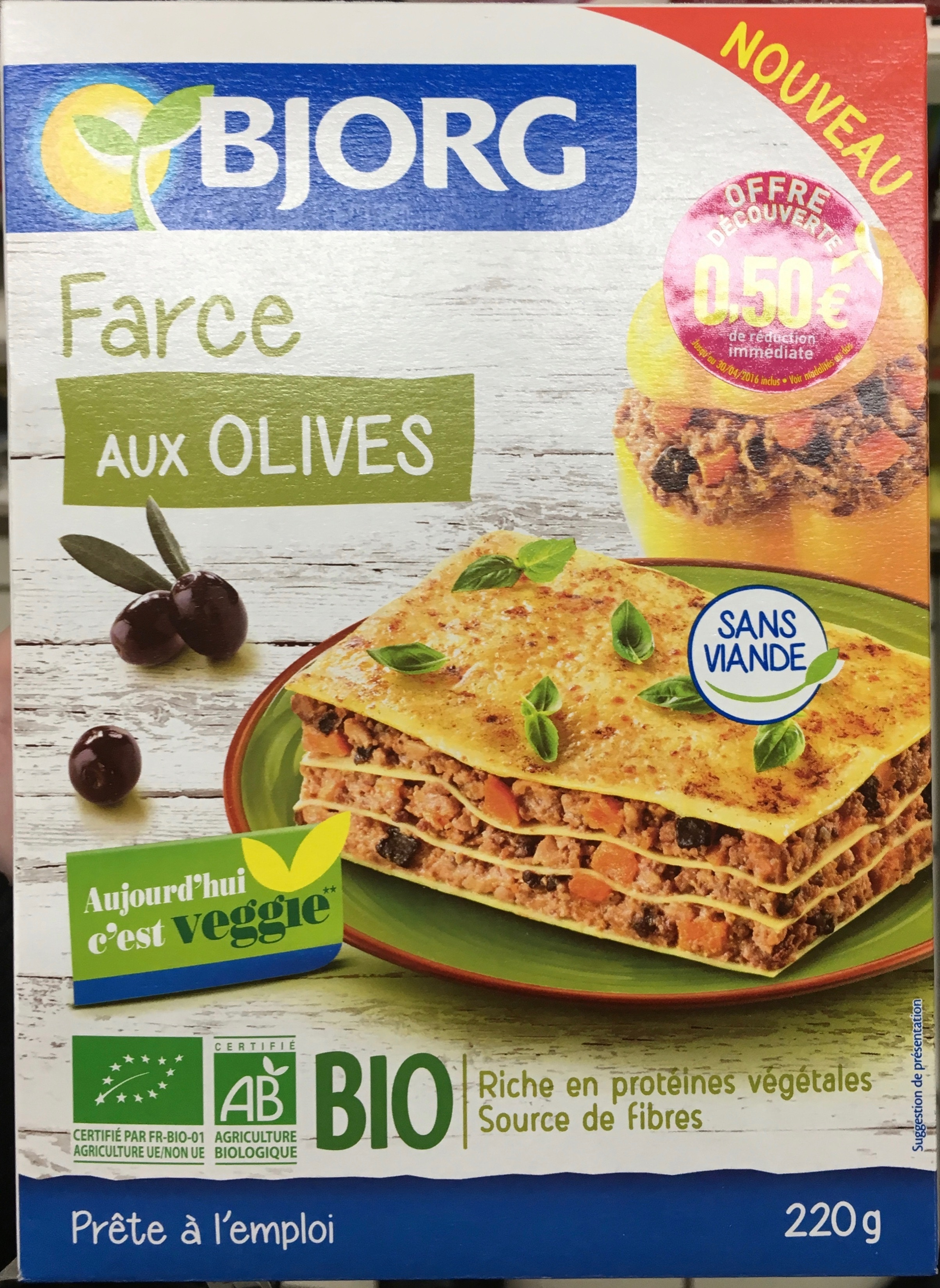 Farce aux olives bjorg 220 g for Origine du mot farce