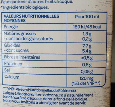 Lait d'amande Cappuccino BJORG - Informations nutritionnelles