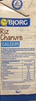 Riz Chanvre Calcium - Voedingswaarden - fr