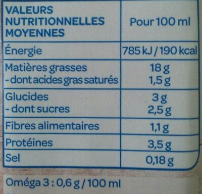 Soja Cuisine Semi-Épais - Nutrition facts - fr