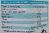 Marmelade d'Oranges Fructose - Informations nutritionnelles - fr