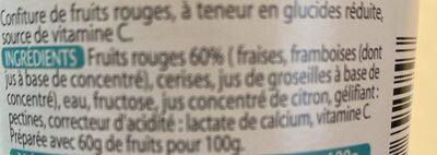 Confiture de Fruits Rouges - Ingrédients - fr