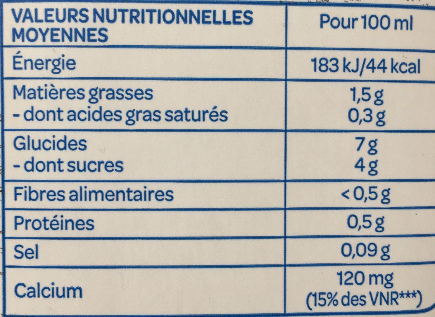 Boisson avoine calcium - Nutrition facts - fr