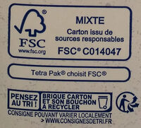 Avoine calcium - Boisson biologique - Recycling instructions and/or packaging information - fr